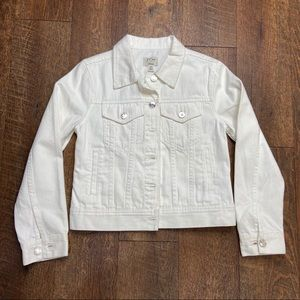 J. Crew White Denim Jacket Petite Small